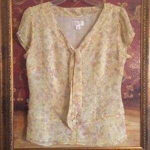 NWOT Ann Taylor Loft Short Sleeve Floral Blouse